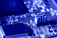 Blue jumper in motherboard Stock Images