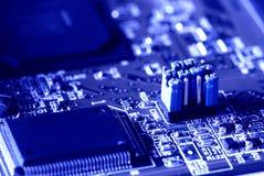 Blue jumper in motherboard stock images