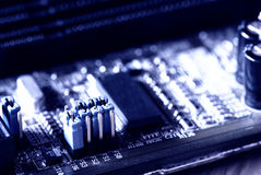Blue jumper in motherboard Royalty Free Stock Photo