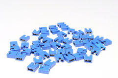 Blue Jumpers. A photo taken on some blue colored jumpers used for electronic circuits applications Stock Image