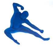 Blue: Jumping Man Does Karate Move Stock Photos