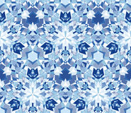Blue kaleidoscope seamless pattern. Seamless pattern composed of color abstract elements located on white background. Royalty Free Stock Photography