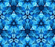 Blue kaleidoscope seamless pattern. Seamless pattern composed of color abstract elements located on white background. Stock Photo