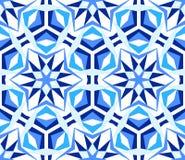 Blue Kaleidoscope Star Pattern. Kaleidoscope Pattern. Seamless blue background. Mandala geometric graphic print. Psychedelic design element for wallpaper royalty free illustration