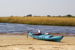 Blue Kayak Royalty Free Stock Photography