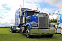 Blue Kenworth W900 Semi Tractor on Display Royalty Free Stock Image