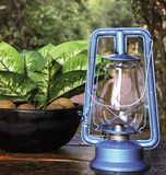 Blue kerosene lamp royalty free stock photos