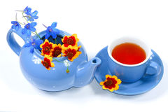 Blue kettle with flowers and cup of tea Stock Images
