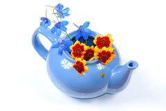 The blue kettle with orange and blue flowers. The blue kettle with nice orange and blue flowers Royalty Free Stock Image