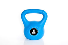 Blue kettlebell on white background Royalty Free Stock Photos