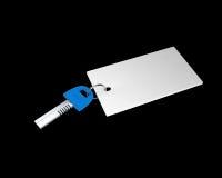 Blue key with an empty tag Stock Photos