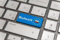 Blue key Enter Bulgaria Bulexit with EU keyboard button on modern board. Blue key Enter Bulgaria Bulexit with EU keyboard button on modern text communication Royalty Free Stock Photos