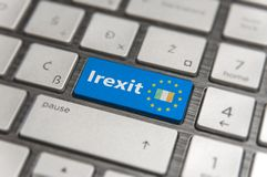 Blue key Enter Ireland Irexit with EU keyboard button on modern board. Blue key Enter Ireland Irexit with EU keyboard button on modern text communication board Stock Photography