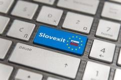 Blue key Enter Slovenia Slovexit with EU keyboard button on modern board. Blue key Enter Slovenia Slovexit with EU keyboard button on modern text communication Royalty Free Stock Photos