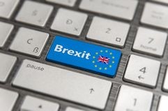 Blue key Enter United Kingdom Brexit with EU keyboard button. On modern text communication board Stock Photo