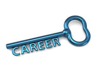 Blue key with word career. 3d illustration of blue key with word career Stock Photos