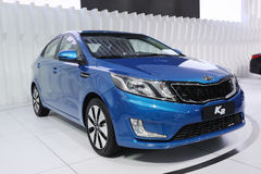 Blue kia k2 car Royalty Free Stock Photography