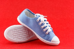 Blue kid shoe Royalty Free Stock Photos