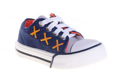 Blue kid shoes on background. Royalty Free Stock Image