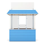 Blue kiosk isolated on a white background. 3d rendering Stock Images
