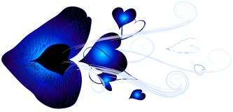 Blue Kiss Blowing Hearts. Blue lips blowing heart kisses and swirling the air royalty free illustration