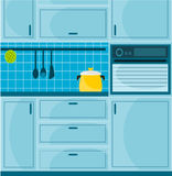 Blue kitchen Stock Images