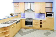 Blue kitchen Royalty Free Stock Image