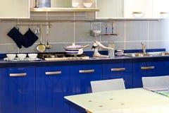 Blue kitchen Royalty Free Stock Photos