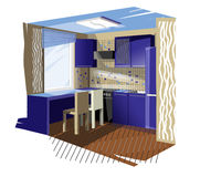 Blue kitchen Royalty Free Stock Photo