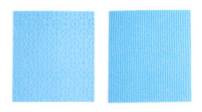 Blue kitchen cleaning napkin rag over white isolated background Royalty Free Stock Image