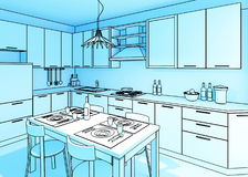 Blue kitchen illustration Stock Photo