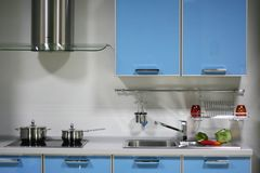 Blue kitchen interior Royalty Free Stock Images