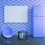 Blue kitchen interior. With blank banner on wall, fridge, chair and decorative stand. Mock up, 3D Rendering Stock Images