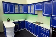 Blue kitchen interior Royalty Free Stock Photo