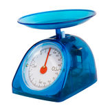 Blue kitchen scales isolated(clipping path) Royalty Free Stock Photography