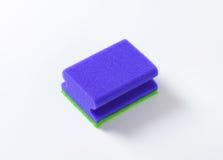 Blue kitchen sponge Stock Images