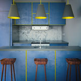 Blue kitchen with three chairs Stock Photography