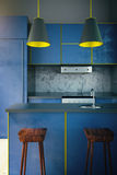 Blue kitchen with yellow edging Stock Images