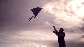 Blue kite soars in the sunset sky. Man rules kite.