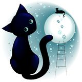 Blue Kitty Dream on the Moon. Cute Little Black Cat in a Surreal Dreamy sky, Dreaming to climb upstairs to sit on top of the pale moonlight. Vector illustration royalty free illustration