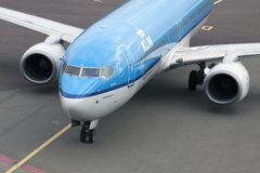 Blue klm airplane Stock Images