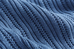 Blue knit fabric. Texture and background Stock Photography