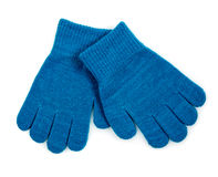 Blue Knit Gloves isolated. Winter Blue Knit Gloves isolated on white background royalty free stock images