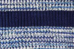 Blue knitted background. Knitted texture. A sample of knitting. Knitted background. Knitted texture. A sample of knitting from wool. Knitting Pattern Stock Images