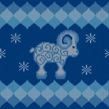Blue knitted background with sheep royalty free illustration