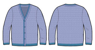 Blue knitted cardigan Stock Photos