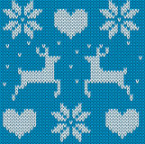 Blue Knitted deers sweater in Norwegian style. Knitted Scandinav Royalty Free Stock Photography