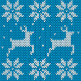 Blue Knitted deers sweater in Norwegian style. Knitted Scandinav Royalty Free Stock Image