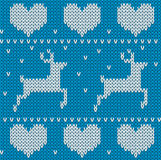 Blue Knitted deers sweater in Norwegian style. Stock Photography