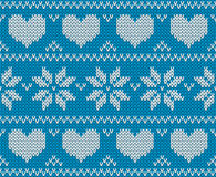 Blue Knitted deers sweater in Norwegian style. Stock Photo